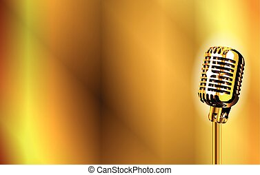 Gold Stage Microphone Background - A gold stage microphone...