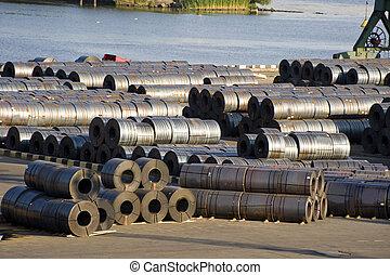 Metal warehouse in the cargo port of Sankt Petersburg,...