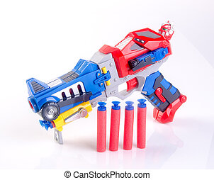 toy gun or toy dart gun on background. - toy gun or toy dart...