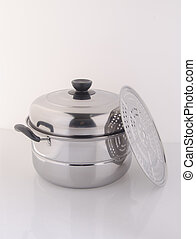 pan or steamer pan on a background. - pan or steamer pan on...