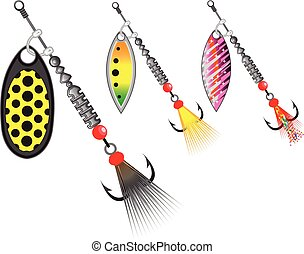 Set of spinners fishing lures vector illustration