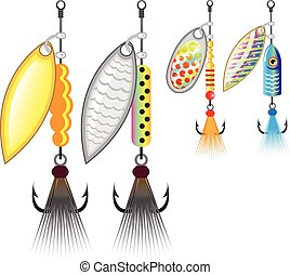 Set of spinners fishing lures vector illustration clip-art...