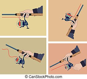 Casting spinning reel with spinning rod positions vector...