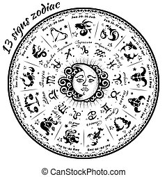 13 signs of the zodiac astrological circle, vector...