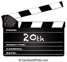 20th Year Clapperboard - A typical movie clapperboard with...