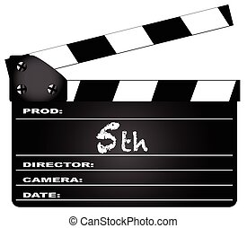 5th Year Clapperboard - A typical movie clapperboard with...