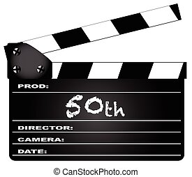 50th Year Clapperboard - A typical movie clapperboard with...