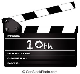 10th Year Clapperboard - A typical movie clapperboard with...