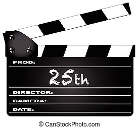 25th Year Clapperboard - A typical movie clapperboard with...