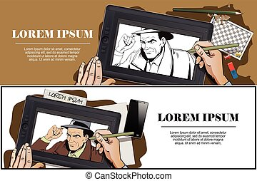Detective of classic crime films. - Stock illustration....