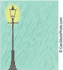 Lamppost In the Rain - A lit gaslight in a downpour of heavy...