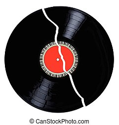 Isolated Broken Record - A broken LP vinyl record with red...