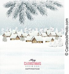 Winter christmas background with a snowy village landscape. Vector.