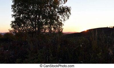 Village landscape in the evening, Siberia, Russia