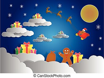 ginger bread have a many gift box on cloud, christmas...
