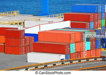 Cargo container in port - Port cargo container in port of...