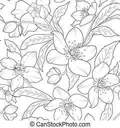 Christmas winter rose hellebore floral pattern - Christmas...