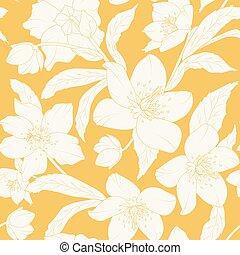 Hellebore Christmas rose flowers pattern yellow - Hellebore...