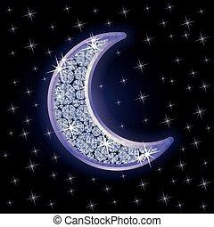 Diamond moon in starry night sky, vector illustration