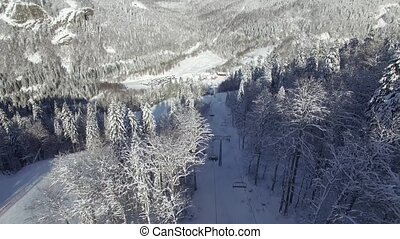 Aerial view of the ski resort in Montenegro