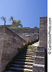 Acropolis ruins  with stairs in Rhodes city, Greece