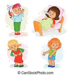 Set icons little girl sick
