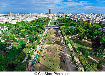 Champ de Mars. View from the Eiffel Tower - Aerial View on...
