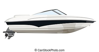 Small motorboat on white background