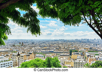 View of Paris from Montmartre area hill. France.