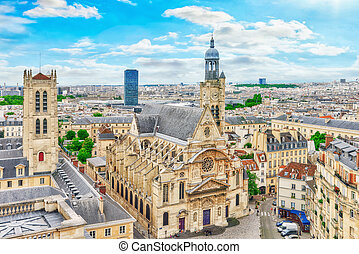 Beautiful panoramic view of Paris from the roof of the Pantheon. View on Church of Saint-Etienne-du-Mont.