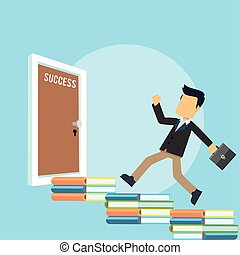 businessman running to success door