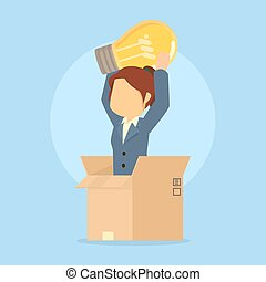 businesswoman pop up from box with idea light bulb