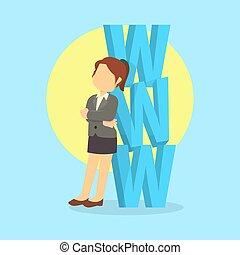 businesswoman with www word