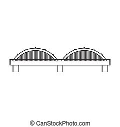 Bridge icon in outline style isolated on white background....