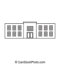 Police station icon in outline style isolated on white background. Building symbol stock vector illustration.