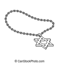 Star of David icon in outline style isolated on white...