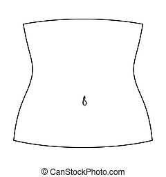 Abdomen icon in outline style isolated on white background....