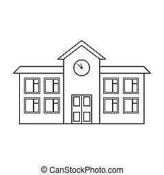 School icon in outline style isolated on white background. Building symbol stock vector illustration.