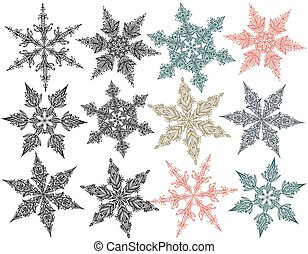 Vector set of beautiful hand drawn doodle snowflakes.