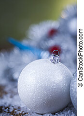 Christmas balls on shiny background