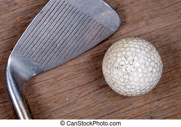 Antique golf club and ball