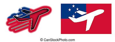 Samoa,  -, isolato, nazione, bandiera, aeroplano