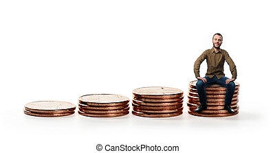 man sitting on a Stack of coins. isolated over white....