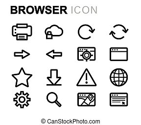 Vector line browser icons set