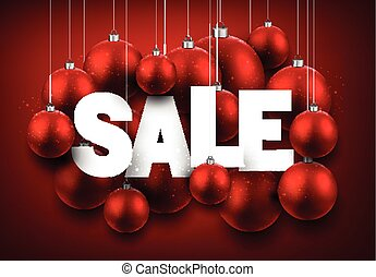 Red sale background with balls.