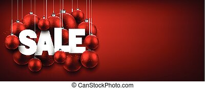 Red sale banner with balls.