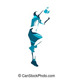 Basketball player, blue isolated vector illustration