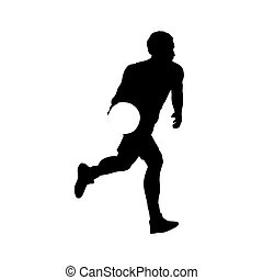 Running basketball player with ball. Vector silhouette