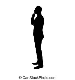 Business man thinking. Profile, side view vector silhouette....