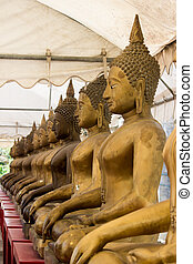 Row of golden Buddha statues at Champa Temple, Bangkok,...